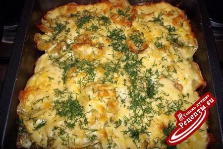 рецепт мяса по-французски в духовке с картошкой и помидорами и курицей #16