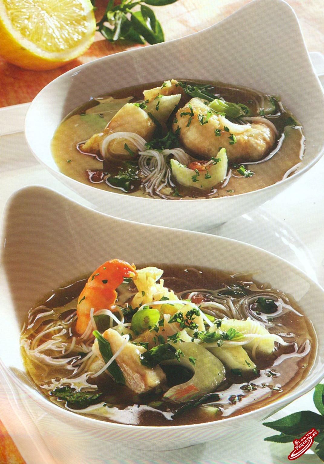 Кисло-сладкий рыбный суп с вермишелью