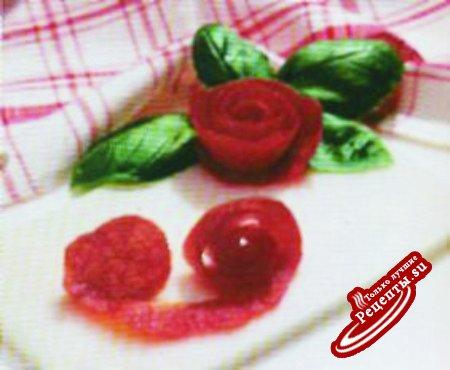 Украшения от А до Я. Роза из помидора.