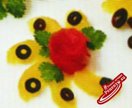 Украшения от А до Я. Цветок из грейпфрута с лососем.