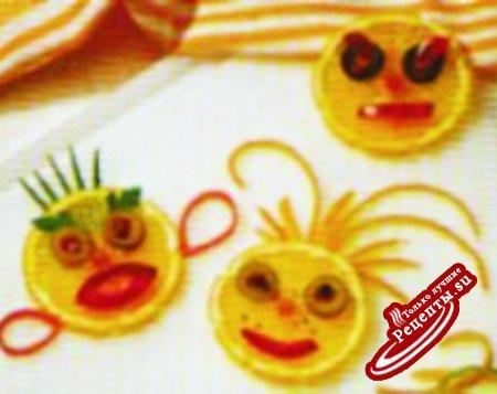 Украшения от А до Я. Кружочки лимона с лисичками.