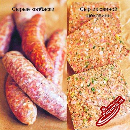 Колбасные изделия штата Луизиана. Сырые колбаски и сыр из свиной щековины