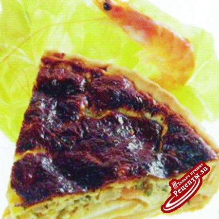 Пирог с каракатицами и креветками