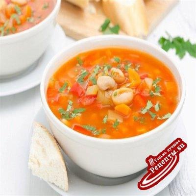 Фасолевый суп с томатами и зеленью