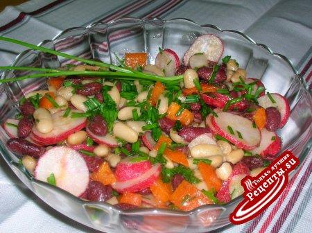 """Салат """"Две фасольки"""" ( один из самых простых, но вкусных и полезных салатов)"""