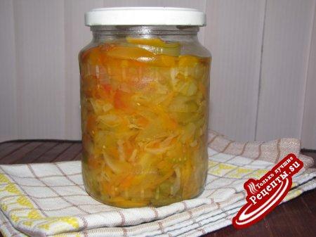 """Салат """"Балатонский"""" консервированный из зелёных помидор"""