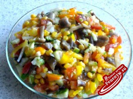 Салат овощной с грибами