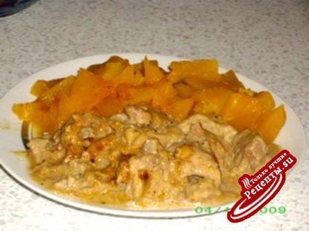 Индейка в сливочно-фруктовом соусе (мой вариант)