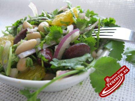 Салат с фасолью и апельсином.