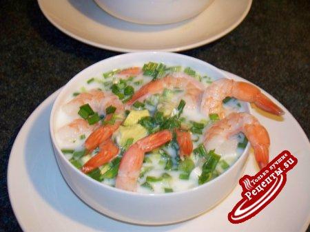 Холодный суп с креветками