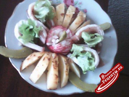 Запеченая картошка с беконом.