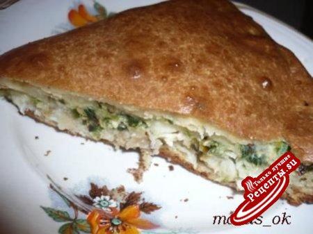 Пирог заливной закусочный с пореем и жареной пикшей