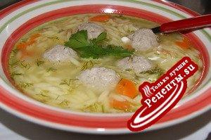 Суп-бульон с пастой орзо и фаршированными фрикаделями.Юбилейный