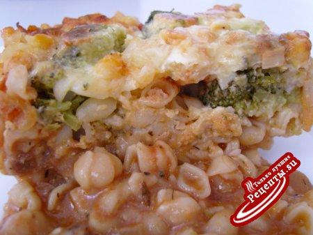 Лазанья из макарон с брокколи и мясом