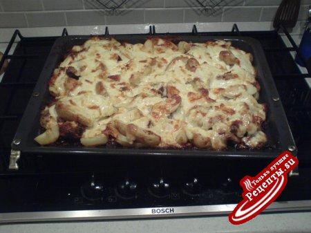 Печенка куринная с картофелем