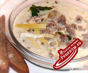 Сырный суп с мясным фаршем.