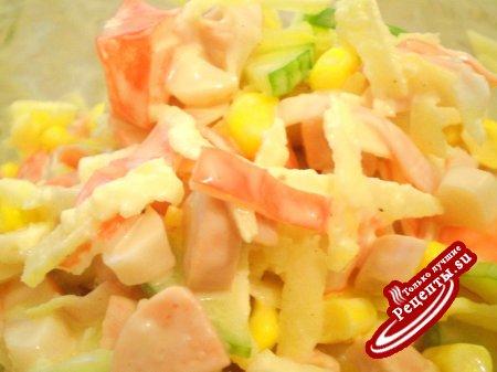 Кукуруза крабовые палочки колбаса салат рецепт