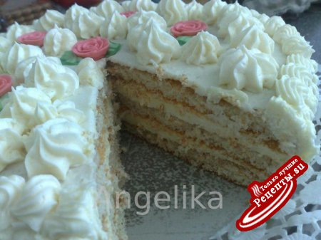 Бисквитный торт с кремом из пудинга