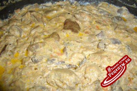 Ароматная печенка с грибами.