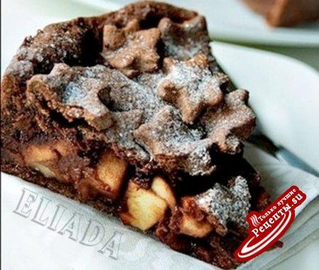 Шоколадный яблочный торт
