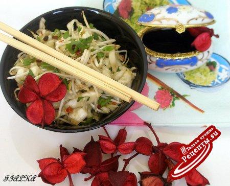 Корейский капустный салат с проростками сои