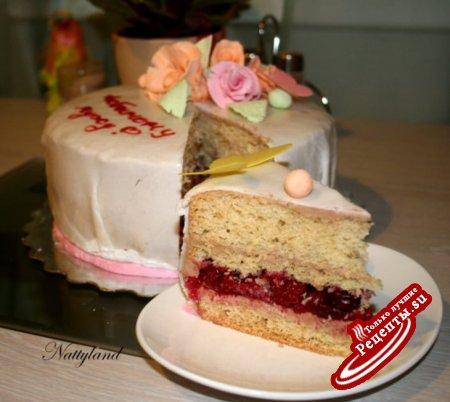 Торт с бабочками и ромашками фото 1