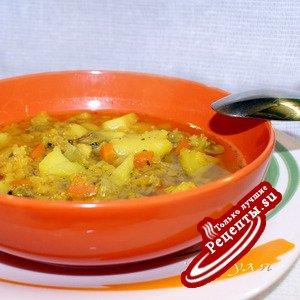 Картофельный суп с чечевицей