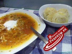 Борщ с галушками (полноценный обед)