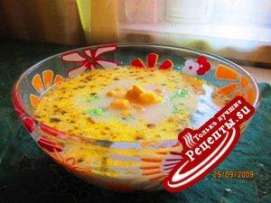 Cуп из кукурузы и креветок на молоке (почему-то нравится всем детям) :-)