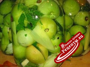 фаршированные зеленые помидоры на зиму, заготовка помидоров на зиму