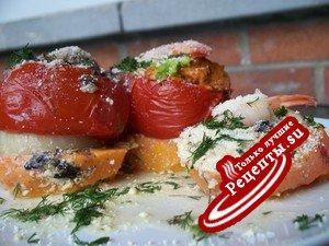 Фаршированые помидоры с креветками и грибами на батате