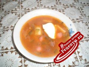 Фасолевый суп с солеными огурчиками (любимый суп сына)