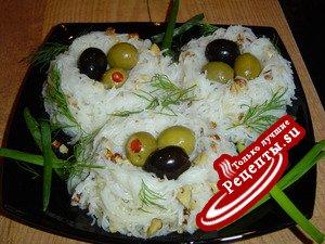Гнезда из рисовой вермишели