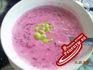 Холодный суп Свекольник с креветками