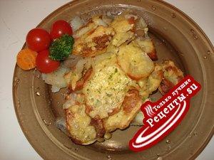 картофель запеченый с вином и луком с сырной корочкой