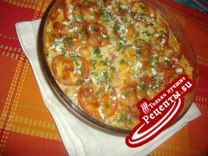Картофельная запеканка с помидорами и сыром!