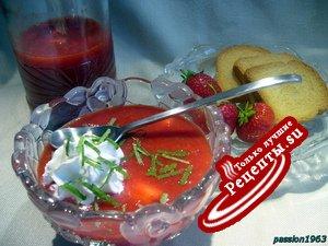 Клубничный освежающий супчик - витаминная бомба + Клубничное сорбе
