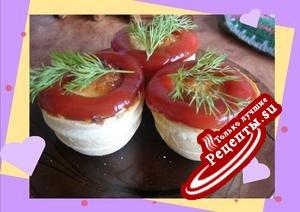 Корзиночки вафельные фаршированные грибами