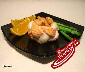 креветки с апельсиновым маслом в рыбном венке