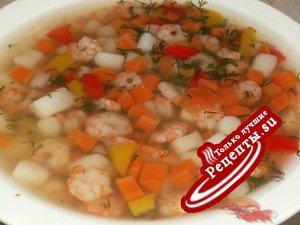 Креветочный суп с овощами