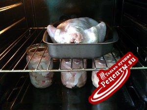 Куриная тушёнка, приготавливаемая одновременно с курицей сухой засолки