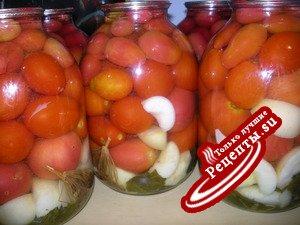 Маринованные помидоры с яблоками (без уксуса)