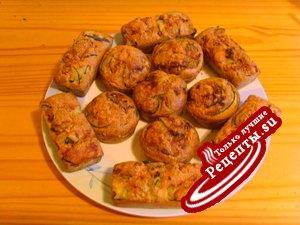 Мини-кексы с песто , с кедровыми орешками и с кабачками