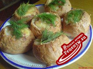 омлет в булочке с грибами