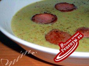 овощной суп-пюре с колбасками