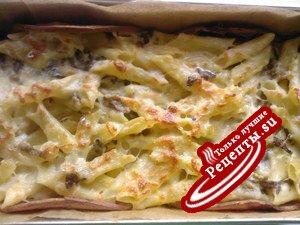 Паста аль форно(запеканка из макарон с грибами)