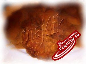 Печень в миндально-кунжутной панировке да под гранатовым соусом