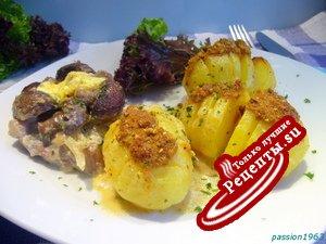 Печеная картошка-гармошка под соусом бешамель