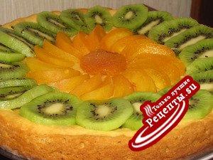Легкий пирог с фруктами рецепт