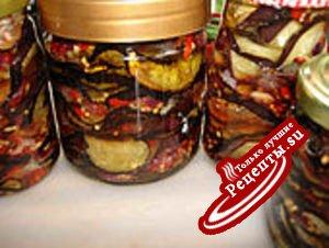 Пикантная заготовка на зиму:прянные баклажаны с мёдом.